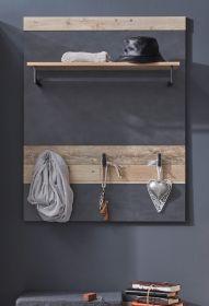 Garderobenpaneel Tailor in Matera grau und Shabby Used Wood hell Wandgarderobe 80 x 106 cm Pale Wood
