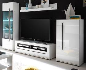 Wohnwand Design-D in Hochglanz weiß Anbauwand 4-teilig 280 x 200 cm