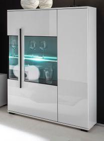 Highboard Design-D in Hochglanz weiß Kommode 90 x 140 cm Anrichte