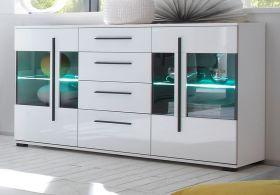 Sideboard Design-D in Hochglanz weiß Kommode 150 x 86 cm Anrichte