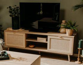 TV-Lowboard Bali in Sonoma Eiche mit Bast - Dekor TV-Unterteil skandinavisch 150 x 52 cm