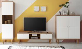 Wohnwand Helge in weiß und Eiche Riviera Schrankwand skandinavisch 3-teilig 337 x 197 cm