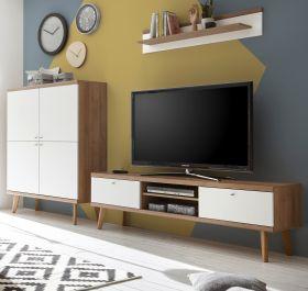 Wohnwand Helge in weiß und Eiche Riviera Schrankwand skandinavisch 3-teilig 277 x 160 cm