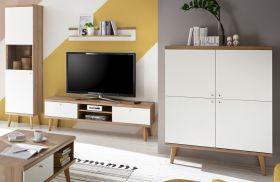 Wohnwand Helge in weiß und Eiche Riviera Schrankwand skandinavisch 4-teilig 337 x 197 cm