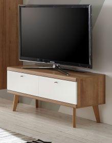 TV-Lowboard Helge in weiß und Eiche Riviera TV-Unterteil skandinavisch 107 x 50 cm