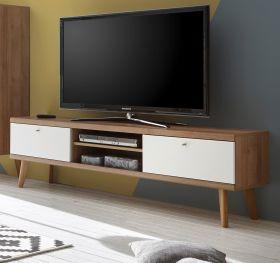 TV-Lowboard Helge in weiß und Eiche Riviera TV-Unterteil skandinavisch 160 x 50 cm