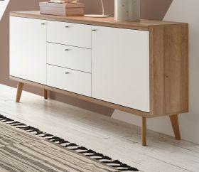 Sideboard Helge in weiß und Eiche Riviera Kommode skandinavisch 160 x 83 cm