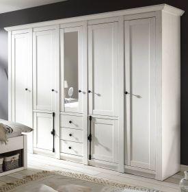 Kleiderschrank Hooge in Pinie weiß Landhaus Drehtürenschrank 7-türig mit Spiegel 236 x 206 cm