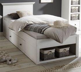 Bett Hooge in Pinie weiß Landhaus Stauraumbett mit Bettschubkasten Liegefläche 90 x 200 cm