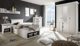 Schlafzimmer komplett Hooge in Pinie weiß Landhaus Komplettzimmer mit Bett, Kleiderschrank, Kommode und Nachttisch