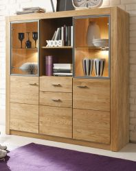 Highboard Hartford in Asteiche massiv geölt Anrichte 138 x 141 cm