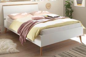 Bett Helge in weiß und Eiche Riviera Einzelbett skandinavisch Liegefläche 140 x 200 cm