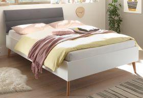 Bett Helge in weiß und Eiche Riviera Einzelbett skandinavisch mit Polsterkopfteil in grau Liegefläche 140 x 200 cm