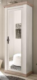 Garderobenschrank Rovola in Pinie weiß / Oslo Pinie Landhaus Garderobe oder großer Schuhschrank mit Spiegel 73 x 201 cm