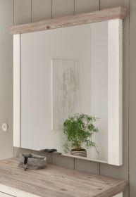 Garderobenspiegel Rovola in Pinie weiß / Oslo Pinie Landhaus Spiegel 107 x 110 cm