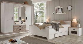 Schlafzimmer komplett Rovola in Pinie weiß / Oslo Pinie Landhaus Komplettzimmer mit Bett, Kleiderschrank und 2 x Nachttisch