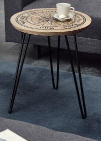 Couchtisch Nevis in Mango mit Kompass - Druck Beistelltisch rund 46 cm Metallgestell schwarz