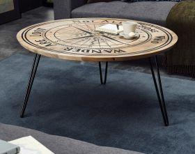 Couchtisch Nevis in Mango mit Kompass - Druck Beistelltisch rund 90 cm Metallgestell schwarz