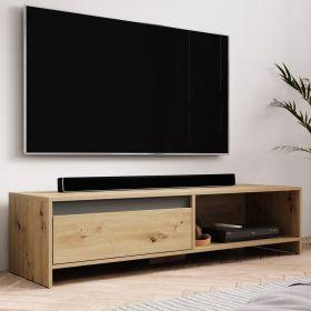 TV-Lowboard Toms in Eiche Artisan und anthrazit TV-Unterteil 140 x 35 cm