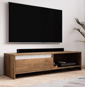 TV-Lowboard Toms in Eiche Burgundy und weiß TV-Unterteil 140 x 35 cm