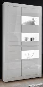 Vitrine Nobile in Hochglanz weiß und Stone Design grau Vitrinenschrank 100 x 198 cm