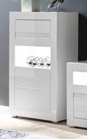 Vitrine Nobile in Hochglanz weiß und Stone Design grau Vitrinenschrank 66 x 112 cm Kommode