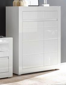Kommode Nobile in Hochglanz weiß und Stone Design grau Sideboard 100 x 112 cm