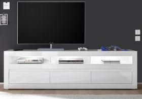 TV-Lowboard Nobile in Hochglanz weiß und Stone Design grau TV-Unterteil in Komforthöhe 217 x 63 cm