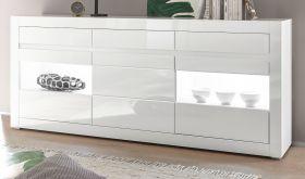 Sideboard Nobile in Hochglanz weiß und Stone Design grau Kommode 217 x 90 cm
