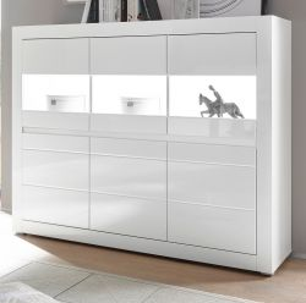 Highboard Nobile in Hochglanz weiß und Stone Design grau Sideboard 164 x 131 cm