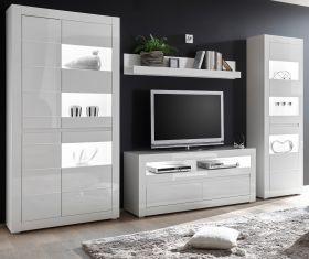 Wohnwand Nobile in Hochglanz weiß und Stone Design grau Anbauwand 4-teilig 336 x 198 cm