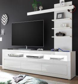Wohnwand 2-tlg. Nobile in Hochglanz weiß und Stone Design grau TV-Lowboard und Wandregal 217 x 163 cm