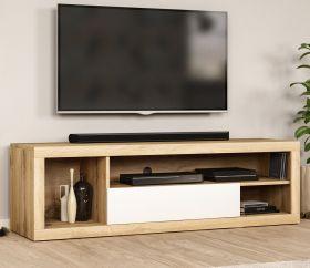 TV-Lowboard Ways in Wotan Eiche und weiß TV-Unterteil 140 x 43 cm