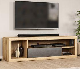 TV-Lowboard Ways in Wotan Eiche und Matera grau TV-Unterteil 140 x 43 cm