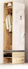 Garderobe Brighty in Artisan Eiche Set 2-tlg. mit Spiegel und Sitzhocker gepolstert 50 x 190 cm