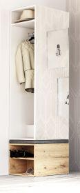 Garderobe Brighty in weiß und Artisan Eiche Set 2-tlg. mit Spiegel und Sitzhocker gepolstert 50 x 190 cm