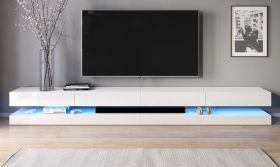 TV Lowboard Bird XXL in weiß Hochglanz 4-teilig 280 x 45 cm hängend mit Beleuchtung
