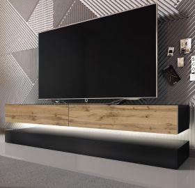 TV Lowboard Bird in schwarz und Eiche 2-teilig 140 x 45 cm hängend mit LED