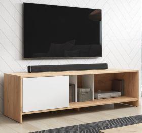 TV-Lowboard Steena in Wotan Eiche und weiß TV-Unterteil 140 x 40 cm