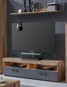 TV-Lowboard und Wandboard Tailor in Matera grau und Shabby Used Wood hell Set 2-teilig 139 cm Pale Wood