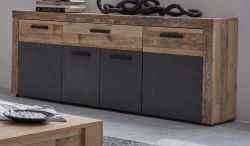 Sideboard Tailor in Matera grau und Shabby Used Wood hell Kommode 178 x 77 cm Pale Wood