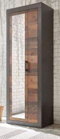 Garderobenschrank Ward in Old Used Wood Shabby Design mit Matera grau Garderobe oder großer Schuhschrank 65 x 201 cm
