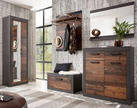 Garderobenkombination Ward in Old Used Wood Shabby Design mit Matera grau Garderobe Set 5-teilig 277 x 201 cm