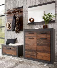 Garderobenkombination Ward in Old Used Wood Shabby Design mit Matera grau Garderobe Set 4-teilig 192 x 200 cm