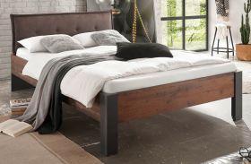 Bett Ward in Old Used Wood Shabby Design mit Matera grau Kopfteil gepolstert Einzelbett Liegefläche 140 x 200 cm