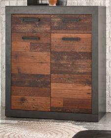 Kommode Ward in Old Used Wood Shabby Design mit Matera grau Sideboard 92 x 104 cm