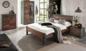 Schlafzimmer komplett Ward in Old Used Wood Shabby Design mit Matera grau Komplettzimmer mit Bett, Kleiderschrank, Kommode und Nachttisch