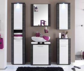 Badmöbel Badkombination Xpress weiß und Esche grau 5-teilig mit LED Beleuchtung