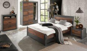 Schlafzimmer komplett Ward in Old Used Wood Shabby Design mit Matera grau Komplettzimmer mit Bett, Bettschubkasten, Kleiderschrank, Kommode und Nachttisch