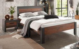 Bett und Nachttisch Ward in Used Wood Shabby und Matera grau Liegefläche 140 x 200 cm Schlafzimmer Set 2-teilig